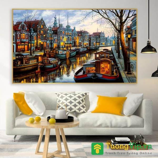 tranh treo tường nghệ thuật thành phố sơn dâu
