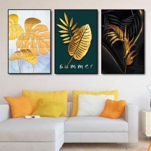 Tranh Treo Tường Bộ 3 Tấm Lá Vàng