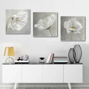 Tranh Treo Tường Bộ 3 Tấm Hoa Trắng Tinh Khôi