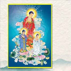 Tranh Treo Tường Tam Thế Phật Tiếp Độ