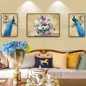 Tranh Treo Tường Chim Công Xanh Và Hoa