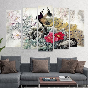 Tranh Treo Tường Chim Công Và Hoa Mẫu Đơn Cách Điệu