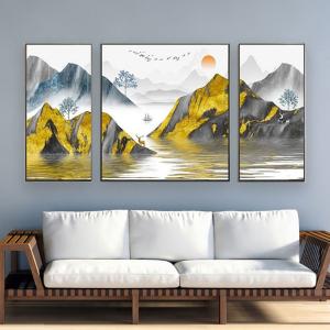 Tranh Treo Tường Nai Vàng Và Núi Nghệ Thuật