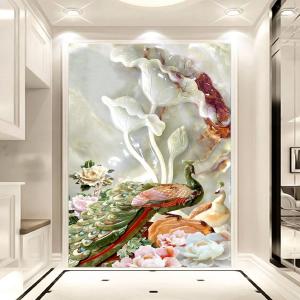 Tranh Dán Tường Đôi Công Và Hoa Bằng Ngọc 3D