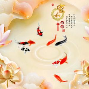 Tranh Dán Tường Cá Và Hoa Sen 3D