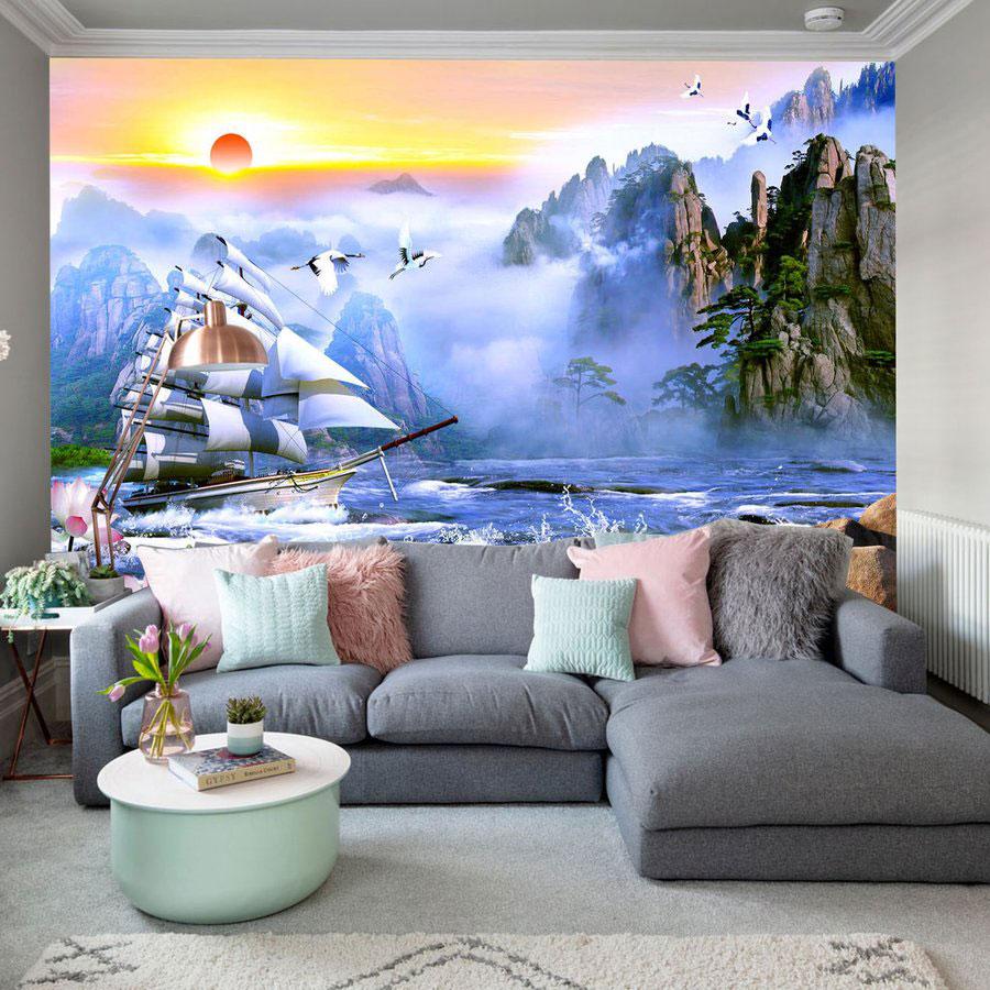 Tranh Dán Tường Thuận Buồm Xuôi Gió 3D
