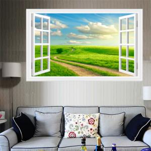 Tranh Phong Cảnh 3D Cửa Sổ Và Cánh Đồng Thiên Nhiên