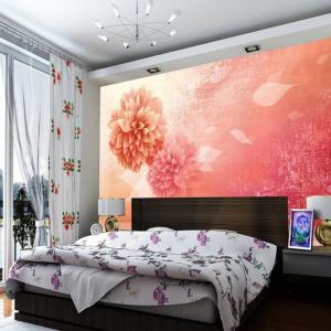Tranh Dán Tường 3D Hoa Sắc Hồng