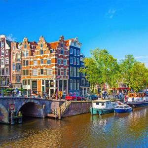 Tranh Dán Tường Thành Phố Amsterdam Thơ Mộng