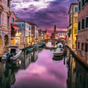 Tranh Dán Tường Nét Đẹp Hoàng Hôn Trên Kênh Đào Venice