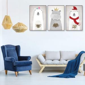 Tranh Canvas Treo Tường Gấu Tuyết