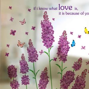 Decal Dán kính Hoa Lavender Tím Và Bướm