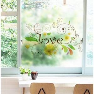 Decal Dán Kính Chữ Love Hoa Văn