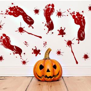 Decal Trang Trí Halloween Bàn Chân Máu