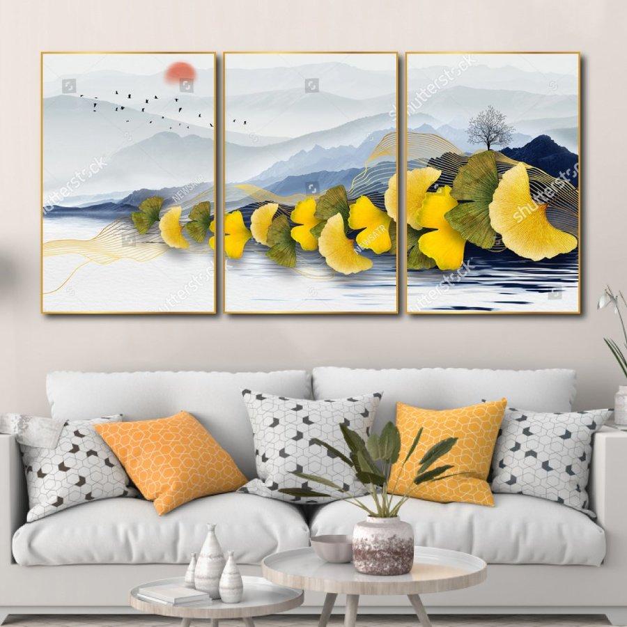 Tranh Canvas Treo Tường Lá Vàng Nghệ Thuật 4