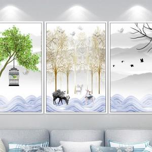 Tranh Canvas Treo Tường Nghệ Thuật Hiện Đại Đôi Hươu