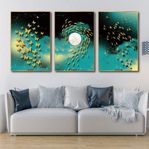 Tranh Canvas Treo Tường Nghệ Thuật Đàn Chim, Đàn Bướm Và Cá 2