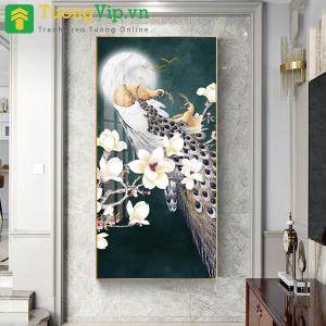 Tranh Treo Tường Nghệ Thuật Chim Công Vàng Dưới Ánh Trăng