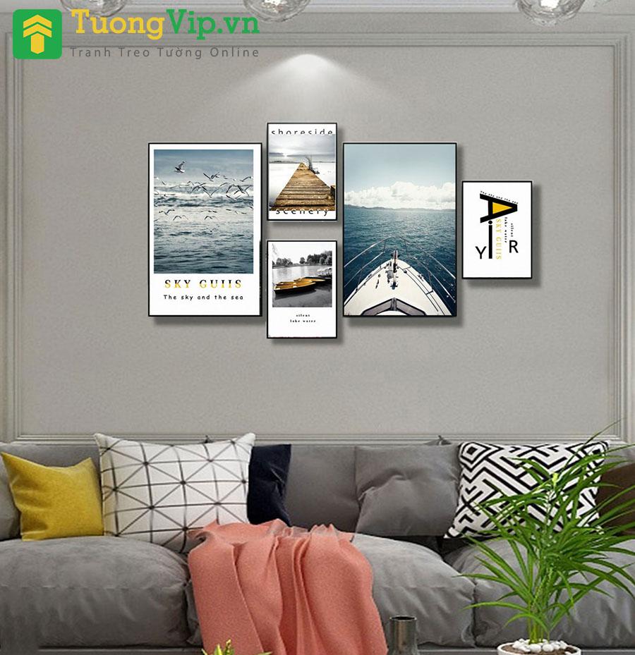 Tranh Treo Tường Phong Cảnh Biển Và Chữ Nghệ Thuật