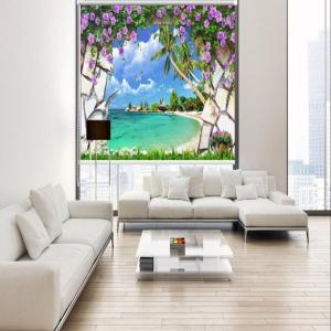 Rèm Cuốn Tranh 3D Biển Và Hoa