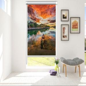 Rèm Cuốn Tranh 3D Hoàng Hôn Trên Sông