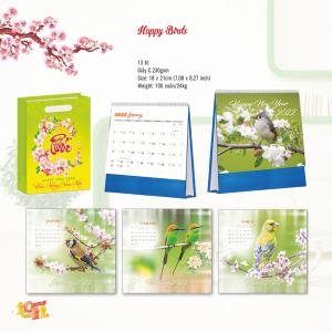 Lịch Để Bàn Chữ A 2022 (18x21cm) - Happy Birds - TV134